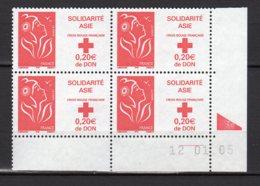 France Yvert N° 3745 Coin Daté Du 12.01.05 Marianne De Lamouche Solidarité Asie Lot 24-185 - 2000-2009