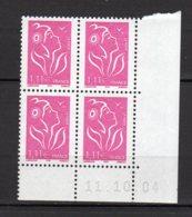 France Yvert N° 3740 Coin Daté Du 11.10.04 Marianne De Lamouche Lot 24-186 - Ecken (Datum)