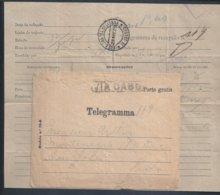 Raro Telegrama Recepção Via Cabo, Obliteração Da Estação C. Tel. De Lisboa, 1909. Telegraphos. Funchal. Via Cabo. 3sc - Lettres & Documents