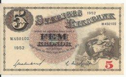 SUEDE 5 KRONOR 1952 XF+ P 33 Ai - Svezia
