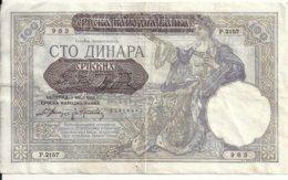 SERBIE 100 DINARA 1941 VF P 23 - Serbien