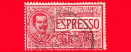 ITALIA - REGNO - Usato - 1925-1926 - Espresso - ESPRESSI - Vittorio Emanuele III Entro Un Ovale - 70 C. - 1900-44 Victor Emmanuel III.