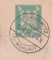 Deutsches Reich Karte Mit Tagesstempel Pakuswitz Kr Wohlau Schlesien 1926 - Storia Postale
