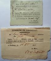 79 PARTHENAY MILITARIA NAPOLEON CENT JOURS 2 BILLETS DE LOGEMENT POUR  MILITAIRES PLACE AU FEU ET CHANDELLE 1815 ET 1832 - Documents Historiques