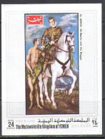 2760 ✅ Art Painting Horses War El Greco 1970 Yemen S/s MNH ** Imperf Imp - Arts
