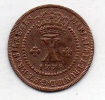 BRAZIL, 10 Reis, 1778, Copper, KM #201 - Brasil