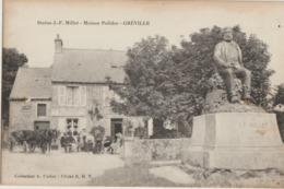 Greville  50   La Maison  Polidor-Epicerie Terrasse Tres Animée  Et Attelage Calèche_Statue J F  MILLET - Frankreich