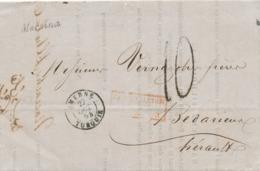 472DT - Bureaux à L' Etranger - Lettre Précurseur TARSOUS 1854 Via Cursive Distribution De MERSINA Et SMYRNE Vers France - Levant (1885-1946)