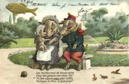 Illustrateur Couple De Cochons Habillés Humanisés Dont Un  Militaire  Avec Leur Petit + Poisson 1e Avril + Poeme ! RV - Animali Abbigliati
