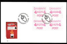 E 82) Dänemark 1990 ATM Automaten-Marken Mi# 1 FDC: Postembleme, ESSt Hand Mit Münze - Danimarca