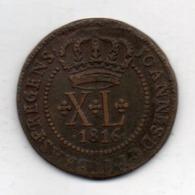 BRAZIL, 40 Reis, 1816 B, Copper, KM #234.2 - Brasil