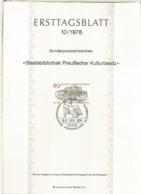 ALEMANIA DOCUMENTO PRIMER DIA FDC BERLIN BIBLIOTECA ESTATAL LIBRARY - Otros