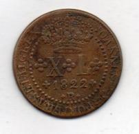 BRAZIL, 40 Reis, 1822 R, Copper, KM #319.1 - Brazil