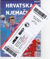 Croatia Zagreb 2019 / Arena / Handball / Croatia - Germany / Entry Ticket + Game Brochure - Tickets - Entradas