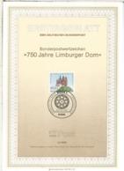 ALEMANIA DOCUMENTO PRIMER DIA FDC BONN 750 AÑOS CATEDRAL LIMBURG - Iglesias Y Catedrales