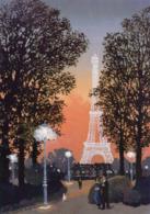 CPM - J - ARTS - PEINTURE - TABLEAU DE MICHEL DELACROIX - DANS LE JARDIN DU TROCADERO LE SOIR - PARIS - TOUR EIFFEL - Peintures & Tableaux