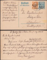Germany - Postal Stationery, Steinhöring 22.8.1921 -München. GA - Postkarte MiNr. P130F-II. - Deutschland