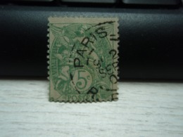 Timbre Blanc Oblitéré De 190. 5 Centimes, Reste De Charnière Paris - 1900-29 Blanc