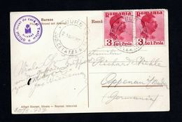 Romania 1937 Locally To Germany On Postcard With Burnas View Postcard - Roumanie