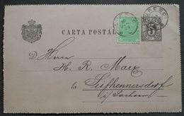 Romania 1898 Postcard Sent To Germany Franked W/ 5 Bani Stamps, Mi #P21 - Roumanie
