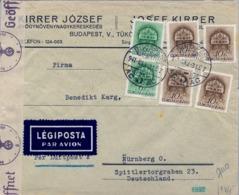 1941 HUNGRIA , SOBRE CIRCULADO POR CORREO AÉREO , CENSURA , BUDAPEST - NÜREMBERG - Hungría