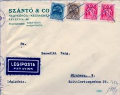 1941 HUNGRIA , SOBRE CIRCULADO POR CORREO AÉREO , CENSURA , KECSKEMÉT - NÜREMBERG - Hungría