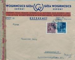 1943 HUNGRIA , SOBRE CIRCULADO  , CENSURA , KECSKEMÉT - NÜREMBERG - Hungría