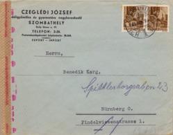 1943 HUNGRIA , SOBRE CIRCULADO  , CENSURA , SZOMBATHELY - NÜREMBERG - Hungría