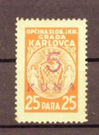 NDH, WWII, CROATIA, KARLOVAC TOWN REVENUE STAMP, 5 KUNA - Croatia