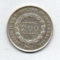 BRAZIL, 200 Reis, 1862, Silver, KM #469 - Brasil