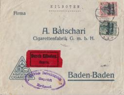 Landespost In Belgien Brief Eilbote Mif Minr.2,5 Gel. Nach Baden-Baden - Occupation 1914-18