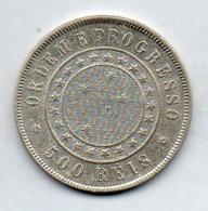 BRAZIL, 500 Reis, 1889, Silver, KM #494 - Brazil