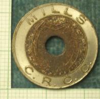 """M_p> Gettone """" MILLS C.R.C.C. """" Bimetallico Con Foro Al Centro - Gettoni E Medaglie"""