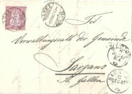 Faltbrief  Basel - Sargans           1867 - 1862-1881 Helvetia Seduta (dentellati)