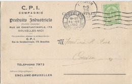 ARMOIRIES BRUXELLES COUVIN 1912 TIMBRE PERFORE CPI - Perfins