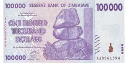 ZIMBABWE 100000 DOLLARS 2008 P-75a UNC  [ZW166a] - Simbabwe