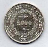 BRAZIL, 2000 Reis, 1852, Silver, KM #462 - Brazil