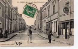 Feneu Animée La Rue Principale Commerces Café Du Centre - France