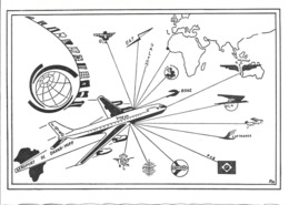 CPA-1960-SENEGAL-CARTE DOUBLE-AEROPORT DAKAR-YOFF-Lignes Aeriennes Vers Monde-Ft17x12,5 Cm-TBE-RARE - Weihnachten