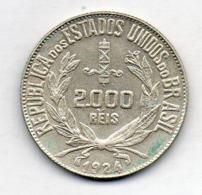 BRAZIL, 2000 Reis, 1924, Silver, KM #526 - Brasilien