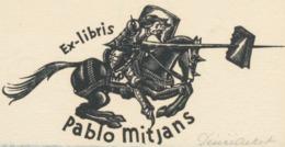 Ex Libris Pablo Mitjans (Don Quichote) - Desire Acket Gesigneerd - Exlibris