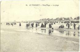 LOT 2 CPA LE TOUQUET-PARIS-PLAGE  (PAS-DE-CALAIS)  LA PLAGE. DANS LES VAGUES - Le Touquet
