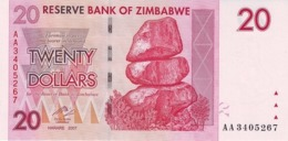ZIMBABWE 20 DOLLARS 2007 P-68a UNC  [ZW159a] - Simbabwe