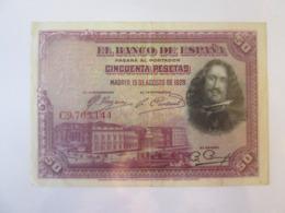 Spain 50 Pesetas 1928 Banknote - [ 1] …-1931 : Eerste Biljeten (Banco De España)