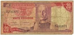Angola - 20 Escudos - 24.11.1972 - Pick 99 - Série YJ - Marechal Carmona - PORTUGAL - Angola