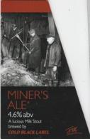 COLD BLACK LABEL BREWERY (BRIDGEND, WALES) - MINERS ALE - PUMP CLIP FRONT - Letreros