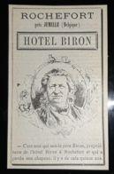 1900 ROCHEFORT PRES JEMELLE HOTEL BIRON PERDU MON CHAPEAU PUBLICITE ANCIENNE BELGIQUE HOTELLERIE - Advertising