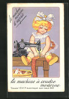 AK Auxerre, Cie Singer, 32, Rue Du Temple, Mädchen An Der Nähmaschine, Reklame - Advertising