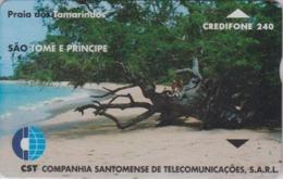 Télécarte à L&G ST-THOMAS & PRINCE - STM 07 - Plage Des Tamarins Palmiers - Beach Palm Tree SAO TOME Phonecard - Landschaften