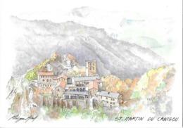 CPA AQUARELLE PHILIPPE ABEL -pays Catalan -st Martin Du Canigou - Peintures & Tableaux